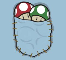 Red Green Mario Mushrooms In Pocket Kids Clothes