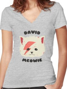 david meowie Women's Fitted V-Neck T-Shirt