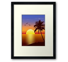 Sunset at tropical beach Framed Print