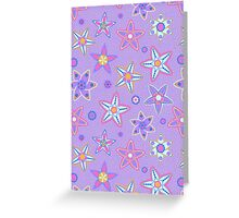 Purple Floral Drawn Pattern Greeting Card