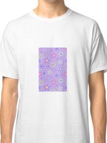 Purple Floral Drawn Pattern Classic T-Shirt