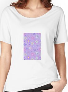 Purple Floral Drawn Pattern Women's Relaxed Fit T-Shirt