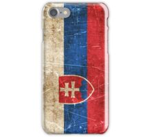Vintage Aged and Scratched Slovakian Flag iPhone Case/Skin
