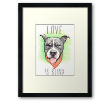 LOVE IS BLIND - Stevie the wonder dog Framed Print