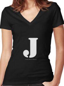 J - White Text Women's Fitted V-Neck T-Shirt