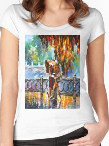 KISS AFTER THE RAIN - Leonid Afremov Women's Fitted Scoop T-Shirt