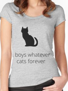 boys, whatever. cats, forever Women's Fitted Scoop T-Shirt