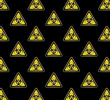 Biohazard Symbol Warning Sign - Yellow & Black - Triangular - Tiled by graphix