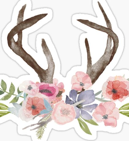 Rustic Watercolor Wildflowers and Antlers Sticker