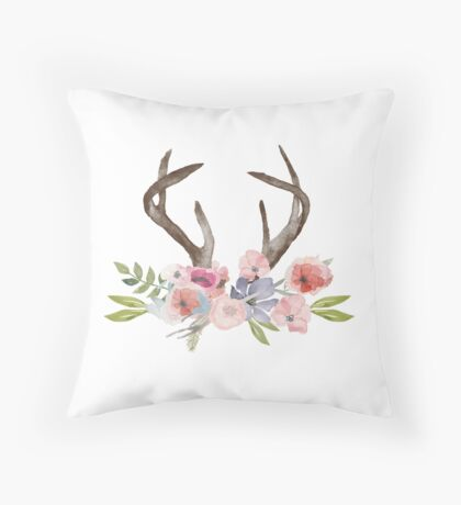 Rustic Watercolor Wildflowers and Antlers Throw Pillow