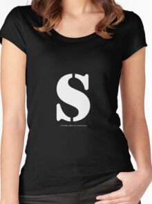 S - White Text Women's Fitted Scoop T-Shirt