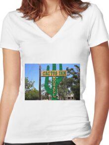 Route 66 - Cactus Inn Motel Women's Fitted V-Neck T-Shirt