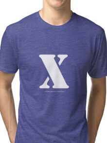 X - White Text Tri-blend T-Shirt