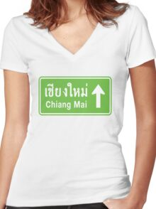 Chiang Mai, Thailand Ahead ⚠ Thai Highway Sign ⚠ Women's Fitted V-Neck T-Shirt