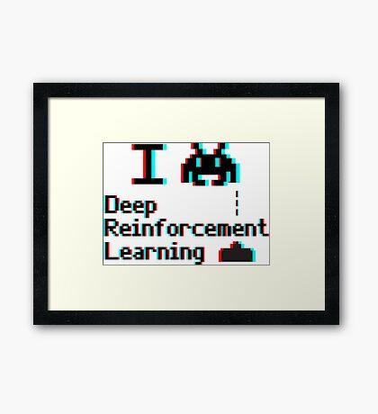 I heart deep reinforcement learning (8-bit 3D) Framed Print