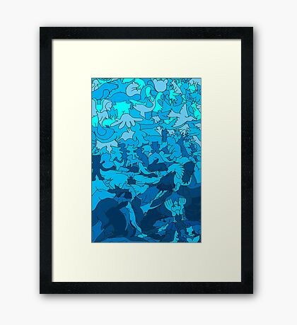 Cookie cutter animals - blue Framed Print
