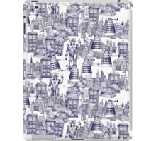 walking doodle toile de jouy blue iPad Case/Skin