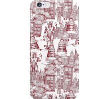 walking doodle toile de jouy red iPhone Case/Skin