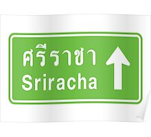 Sriracha, Thailand Ahead ⚠ Thai Traffic Sign ⚠ Poster