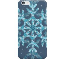 Polygonal Snowflake With blue Background iPhone Case/Skin