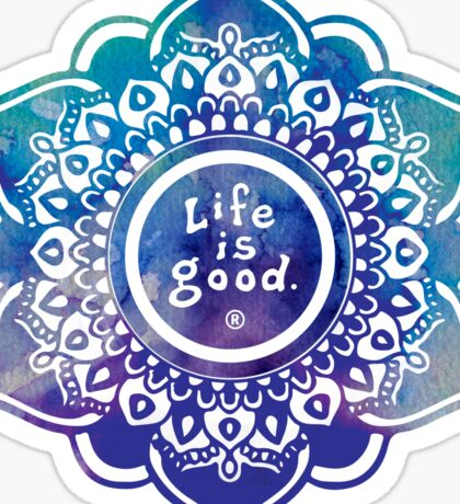 Life is Good Watercolor Mandala Sticker