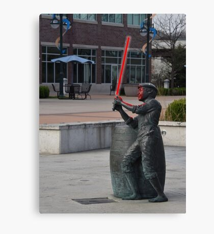 Boy Statue with Lightsaber Canvas Print