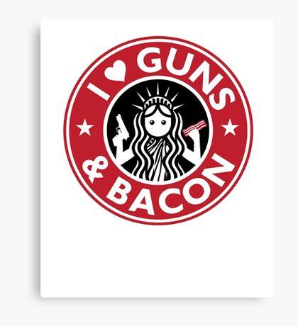 I Heart Guns and Bacon Star Love Bucks Canvas Print