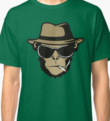 Cool Monkey Smoking Apes T-shirt Gorilla Head Face Tshirt Classic T-Shirt