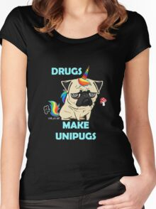 Drugs Make Unipugs  Fawn  Women's Fitted Scoop T-Shirt