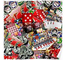 Gamblers Delight - Las Vegas Icons Background Poster