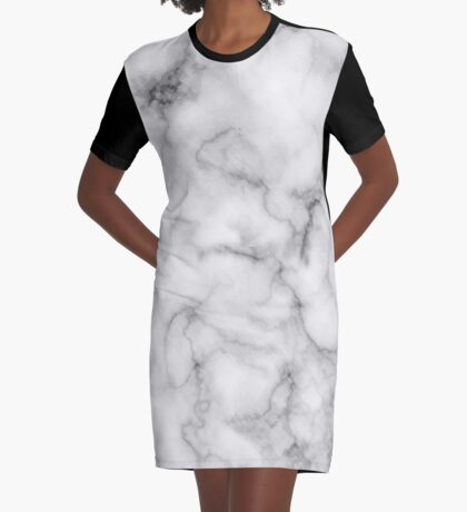 White Marble #redbubble #lifestyle Graphic T-Shirt Dress