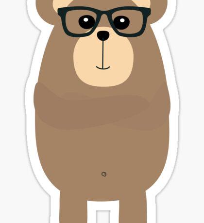 Nerd Brown Bear Sticker