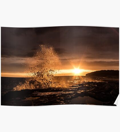Splash in beautiful sunset Poster