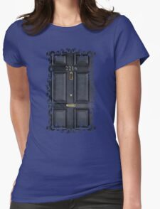 Black Door with 221b number Womens Fitted T-Shirt