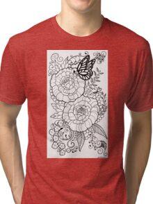 Peony Tattoo Design Tri-blend T-Shirt