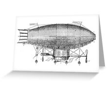 French Steampunk Hot Air Balloon Greeting Card