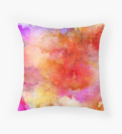 ink style of orange watercolour texture Throw Pillow