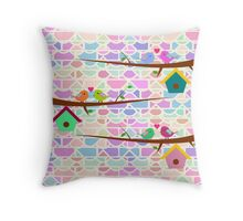 Cute birds and colorful bricks Throw Pillow