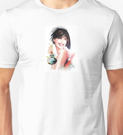 fashion woman with bottle of perfume  Unisex T-Shirt
