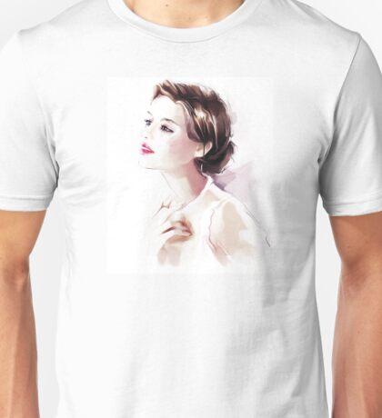 Watercolor illustration. Beautiful young woman Unisex T-Shirt