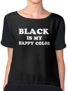 Funny Humor Graphic Black Happy Color Text Novelty Chiffon Top