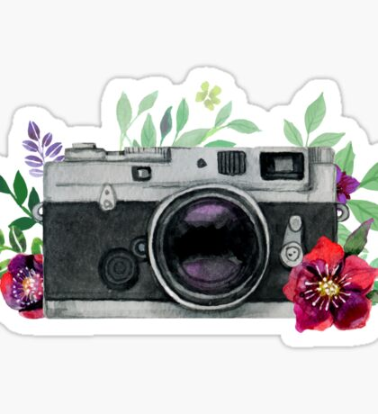Watercolor Floral Camera #stickers Sticker