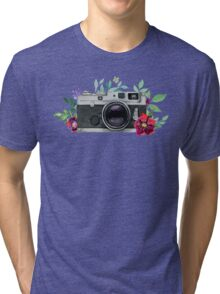Watercolor Floral Camera #stickers Tri-blend T-Shirt