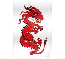 Red Dragon on White Poster