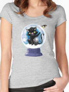 Black winter kitty in a snow globe and butterfly Women's Fitted Scoop T-Shirt