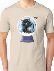 Black winter kitty in a snow globe and butterfly Unisex T-Shirt