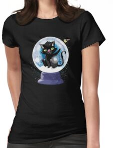 Black winter kitty in a snow globe and butterfly Womens Fitted T-Shirt