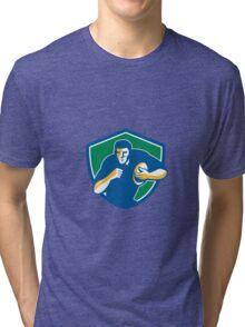 Rugby Player Running Fending Shield Retro Tri-blend T-Shirt