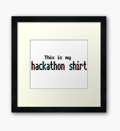 Hackathon shirt (8-bit 3D) Framed Print