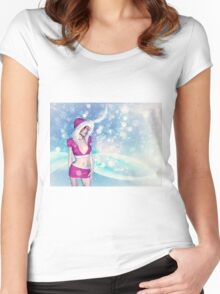 Woman in pink winter cloth Women's Fitted Scoop T-Shirt